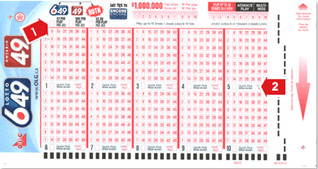 Canada Lotto 6-49 lotto slip coupon blank