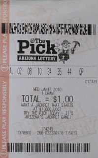 Arizona The Pick printed lottery ticket