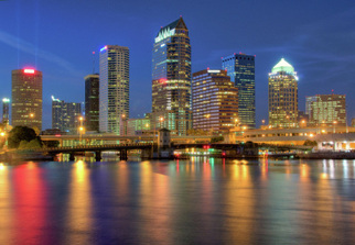 Tampa in Florida by night