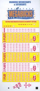 Oregon Megabucks Lotto blank play-slip coupon.