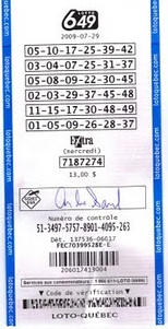 Canada Lotto 6/49 ticket