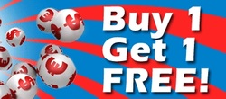 Buy 1 lotto ticket online and get 1 ticket free, as a welcome bonus.