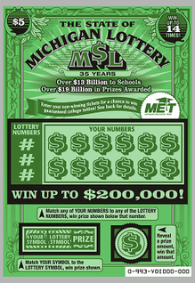 Michigan Lottery 35 Years Anniversaty Scratch Card