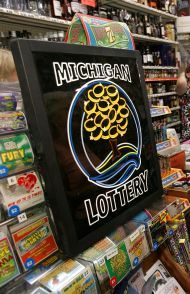 Michigan Lottery logo at the Classiv Lotto 47 local ticket point of sale